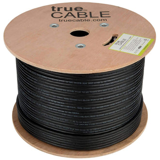 Cat6 Shielded Outdoor Cable Black 1000ft trueCABLE Reel No Wrap