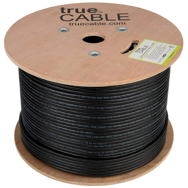 Cat6 Shielded Direct Burial Cable Black 1000ft trueCABLE Reel Top