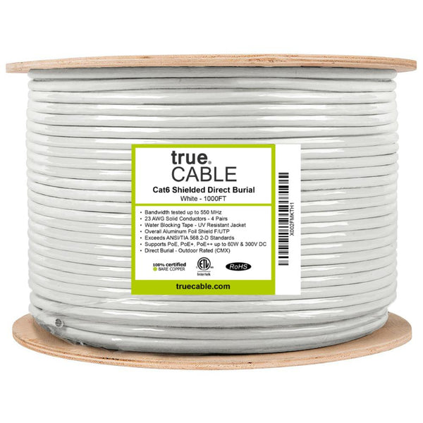 Cat6 Shielded Direct Burial Cable White 1000ft trueCABLE Reel Label