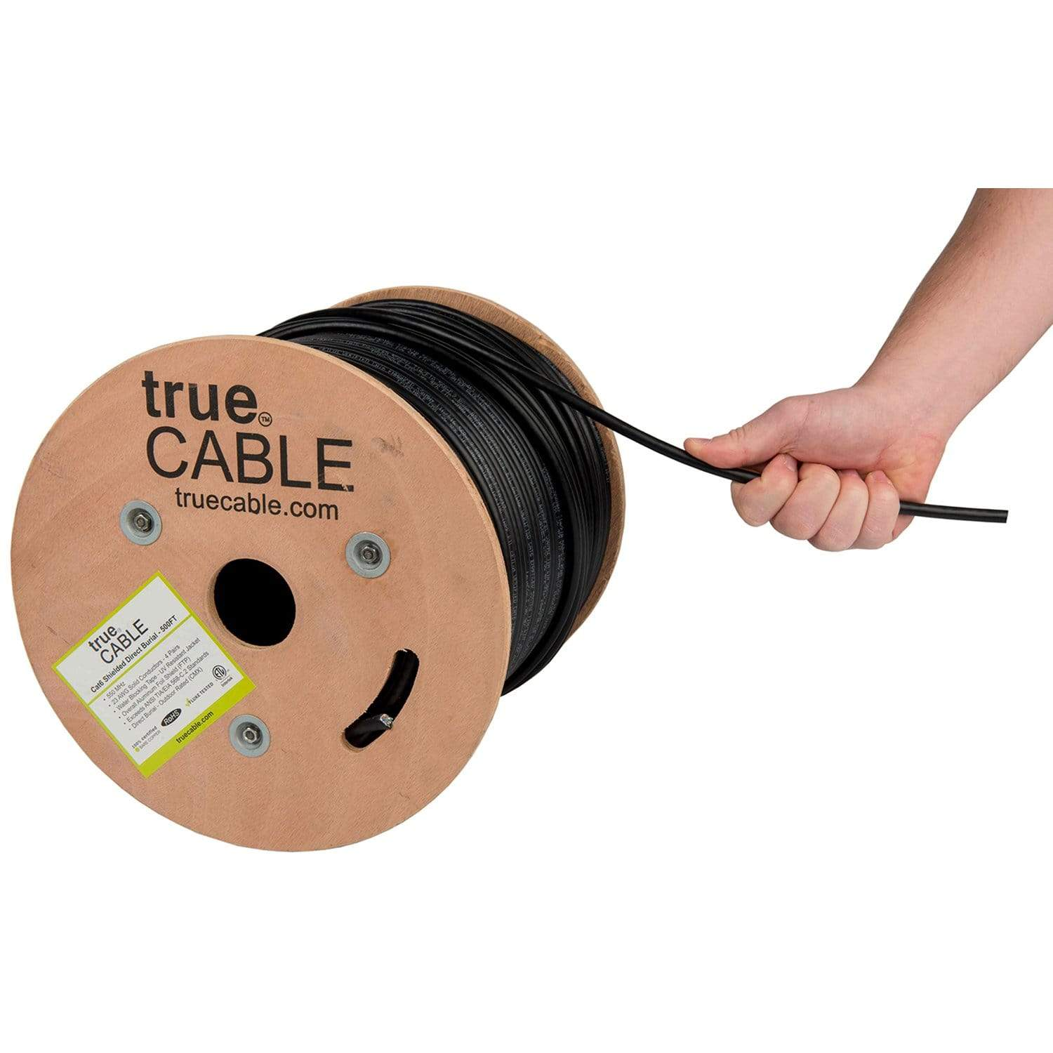 Cat6 Shielded Outdoor Cable Black 500ft trueCABLE Hand Pulling