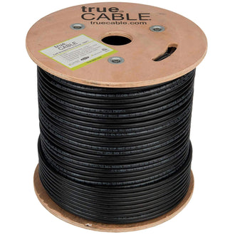 Cat6 Shielded Outdoor Cable Black 500ft trueCABLE Reel No Wrap