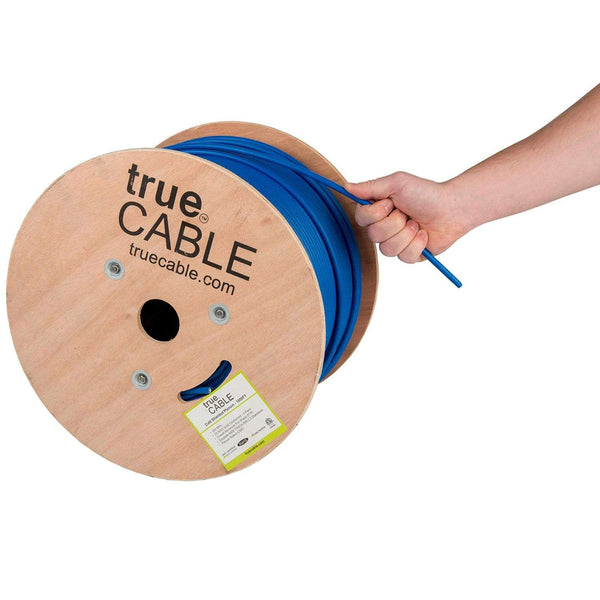 Cat6 Shielded Plenum Ethernet Cable Blue 1000ft trueCABLE Hand Pulling