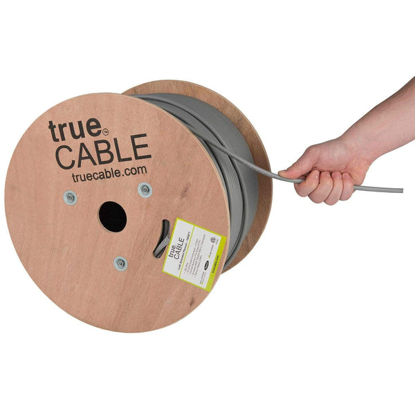 Cat6 Shielded Plenum Ethernet Cable Gray 1000ft trueCABLE Hand Pulling