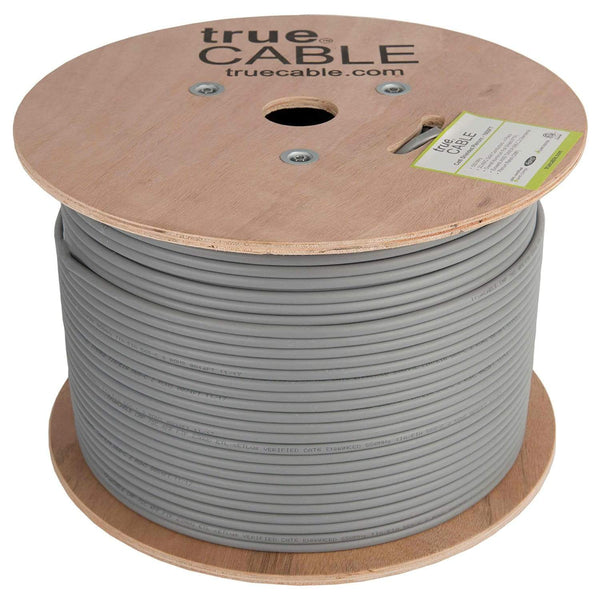 Cat6 Shielded Plenum Ethernet Cable Gray 1000ft trueCABLE Reel No Wrap
