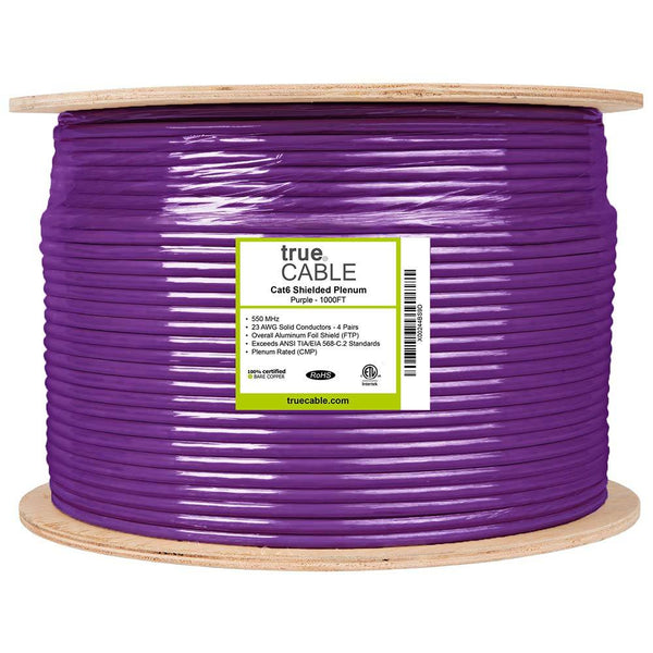Cat6 Shielded Plenum Ethernet Cable Purple 1000ft trueCABLE Reel Label