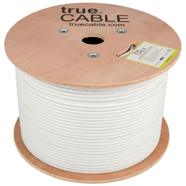 Cat6 Shielded Plenum Ethernet Cable White 1000ft trueCABLE Reel No Wrap