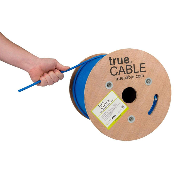 Cat6 Shielded Riser Ethernet Cable Blue 500ft trueCABLE Reel Label