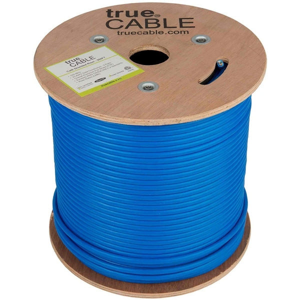 Cat6 Shielded Riser Ethernet Cable Blue 500ft trueCABLE Reel No Wrap