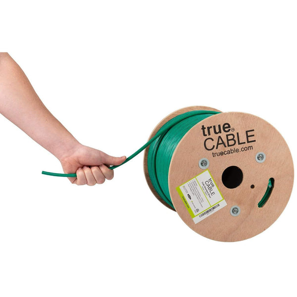 Cat6 Shielded Riser Ethernet Cable Green 500ft trueCABLE Hand Pulling