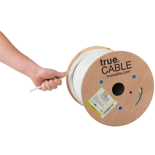 Cat6 Shielded Riser Ethernet Cable White 500ft trueCABLE Hand Pulling