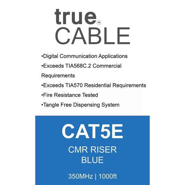 Cat5e Riser Ethernet Cable Blue 1000ft trueCABLE Box Back