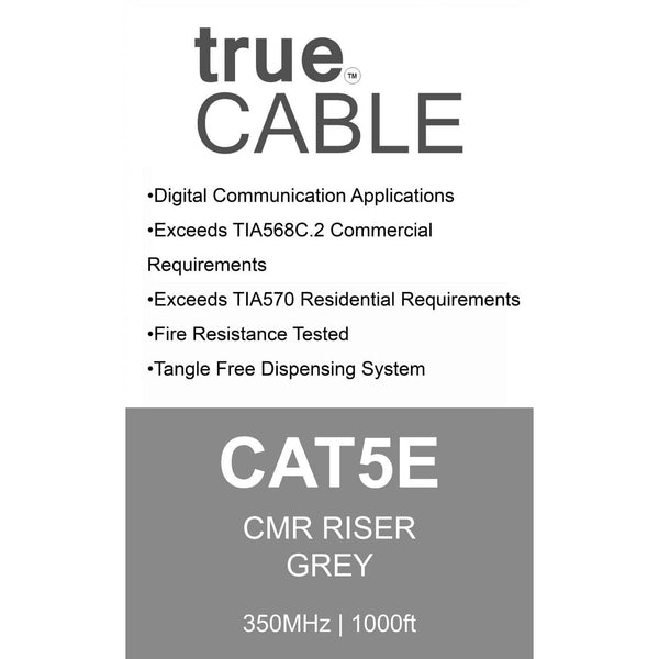Cat5e Riser Ethernet Cable Gray 1000ft trueCABLE Box Back