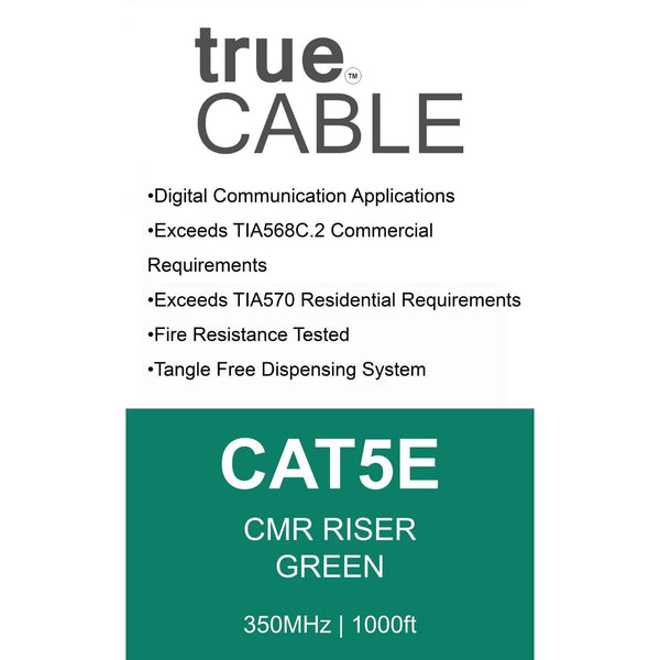 Cat5e Riser Ethernet Cable Green 1000ft trueCABLE Box Back