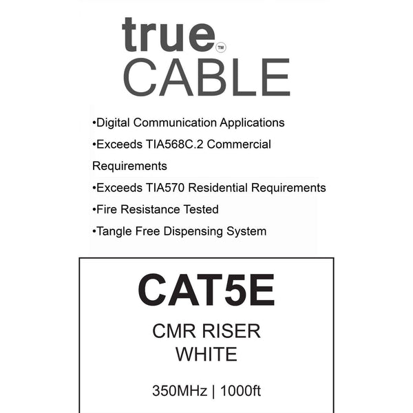 Cat5e Riser Ethernet Cable White 1000ft trueCABLE Box Back