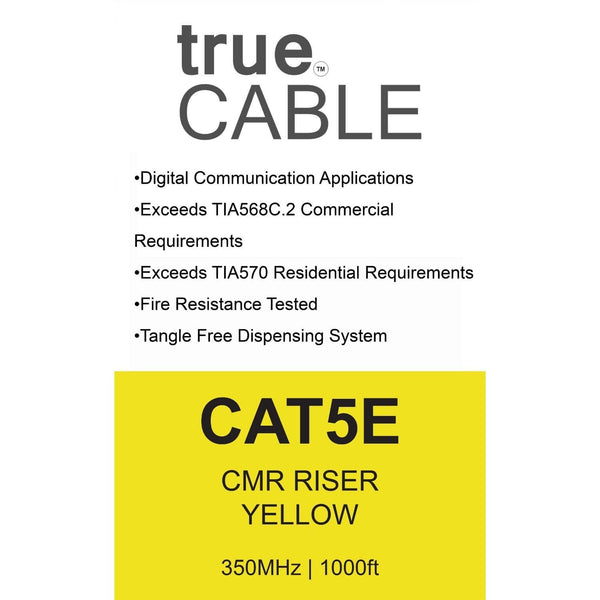 Cat5e Riser Ethernet Cable Yellow 1000ft trueCABLE Box Back