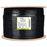 Outdoor Cat5e Cable Black 1000ft trueCABLE Reel Label