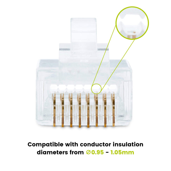 Cat6 Pass Through RJ45 Connectors | Unshielded | 20pc | Front