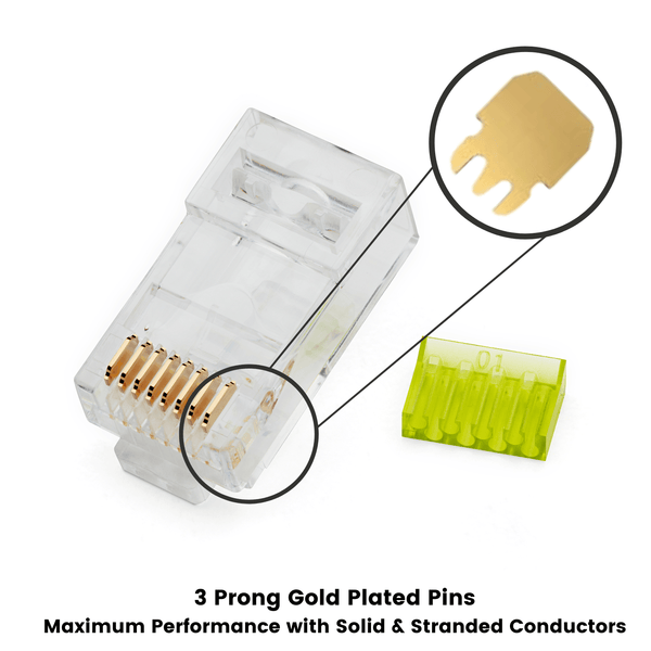 Cat6 Cat6A Standard RJ45 Connectors | Unshielded | 100pc | side