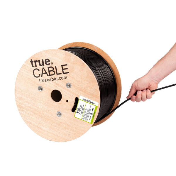 Cat6 Shielded Outdoor Cable Black 1000ft trueCABLE Hand Pulling