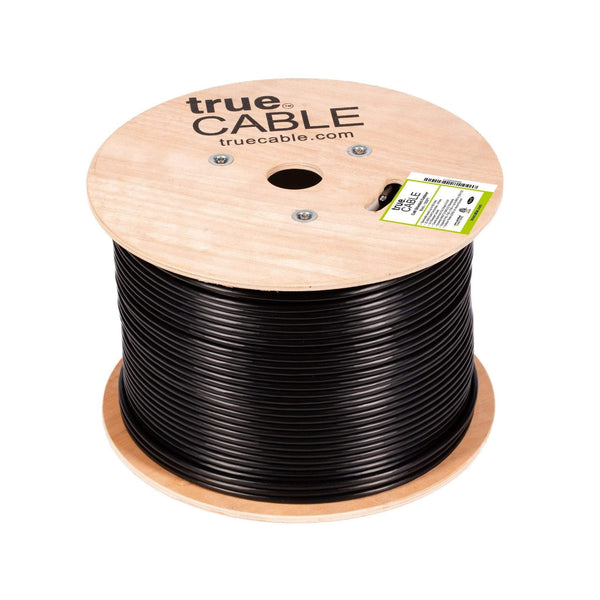 Cat6 Shielded Outdoor Cable Black 1000ft trueCABLE Reel Top