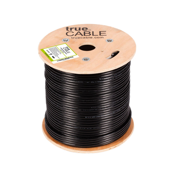 Cat6 Shielded Outdoor Cable Black 500ft trueCABLE Reel Top