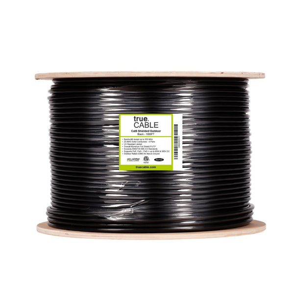 Cat6 Shielded Outdoor Cable Black 1000ft trueCABLE Reel Label