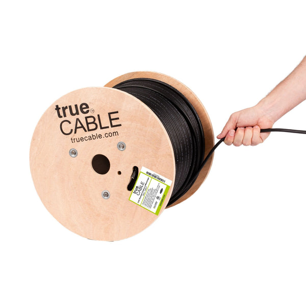 Cat6 Shielded Outdoor With Messenger Cable Black 1000ft trueCABLE Hand Pulling
