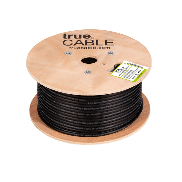 Cat6 Shielded Outdoor With Messenger Cable Black 500ft trueCABLE Reel Top