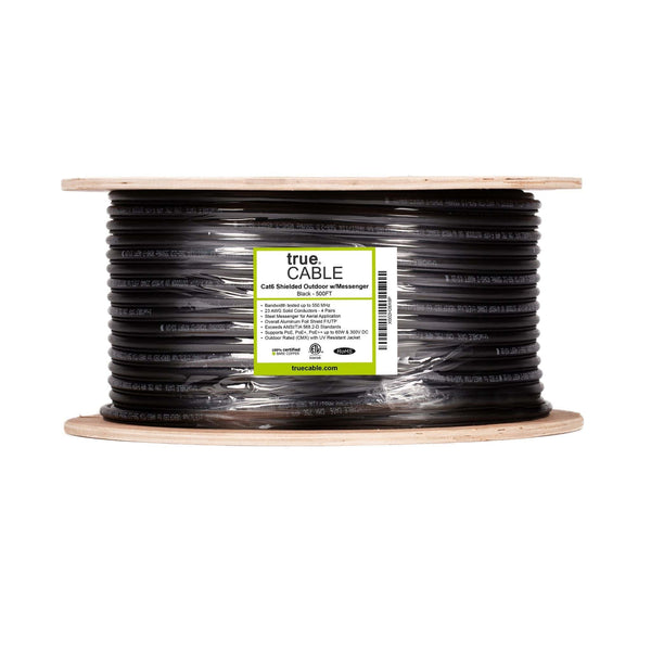 Cat6 Shielded Outdoor With Messenger Cable Black 500ft trueCABLE Reel Label