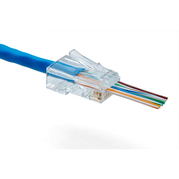 Cat6 Pass Through RJ45 Connectors | Unshielded | 100pc | Conductors inserted