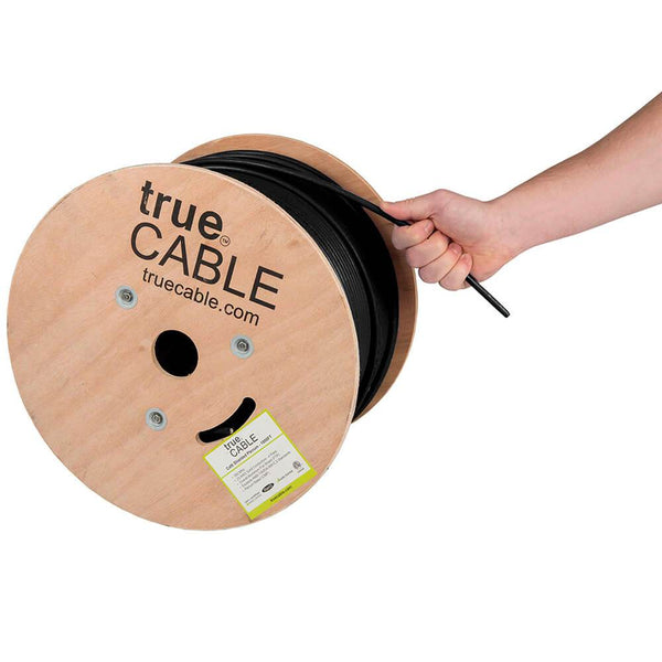 Cat6 Shielded Plenum Ethernet Cable Black 1000ft trueCABLE Hand Pulling