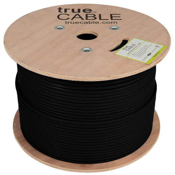 Cat6 Shielded Plenum Ethernet Cable Black 1000ft trueCABLE Reel No Wrap
