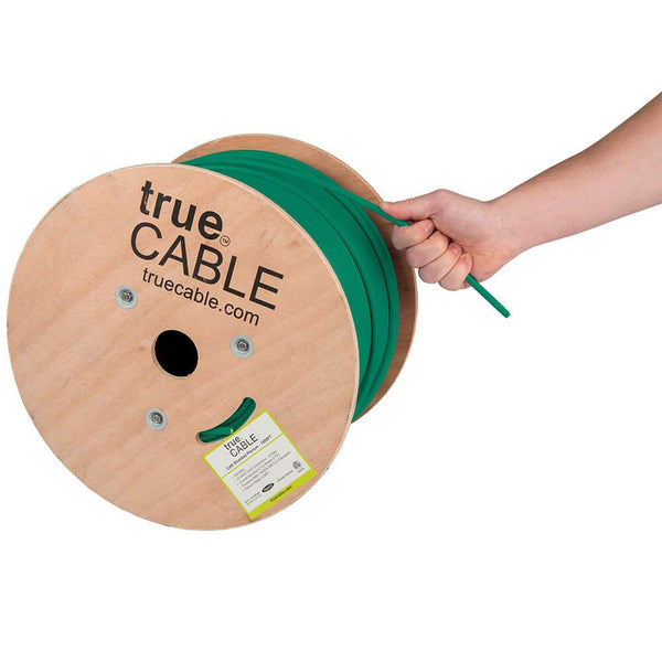 Cat6 Shielded Plenum Ethernet Cable Green 1000ft trueCABLE Hand Pulling