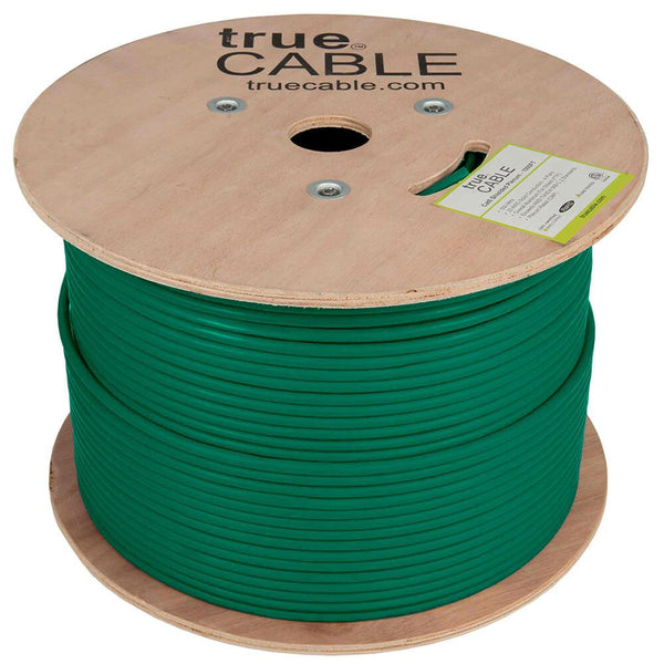 Cat6 Shielded Plenum Ethernet Cable Green 1000ft trueCABLE Reel No Wrap