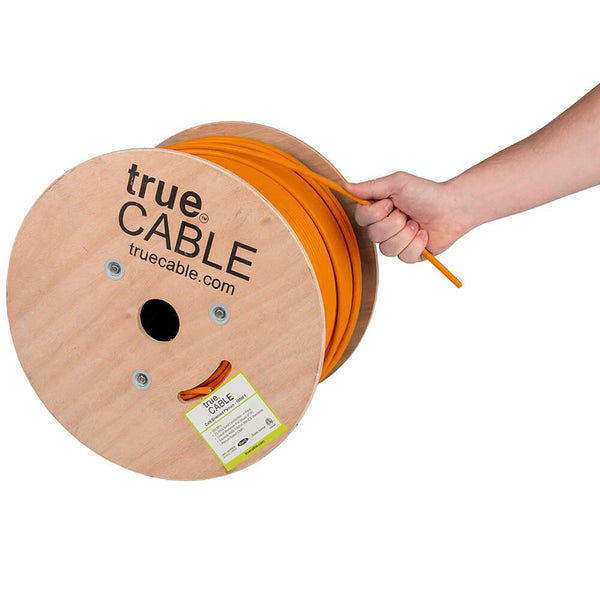 Cat6 Shielded Plenum Ethernet Cable Orange 1000ft trueCABLE Hand Pulling