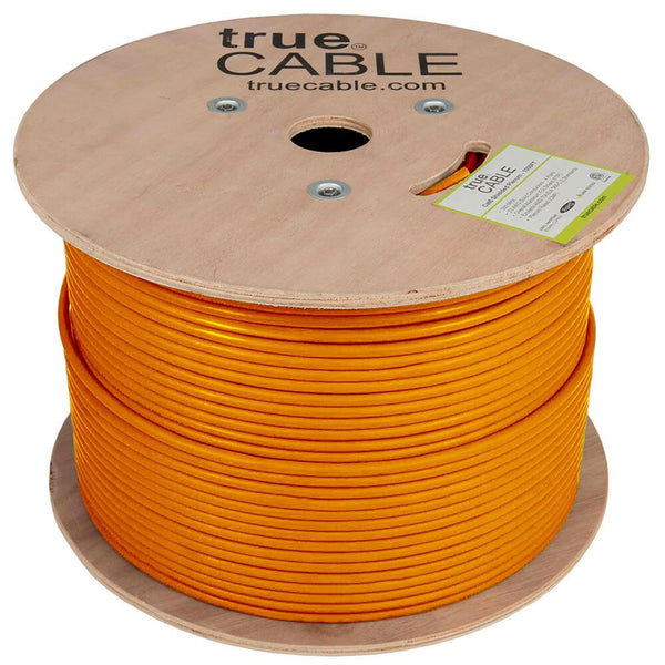 Cat6 Shielded Plenum Ethernet Cable Orange 1000ft trueCABLE Reel No Wrap