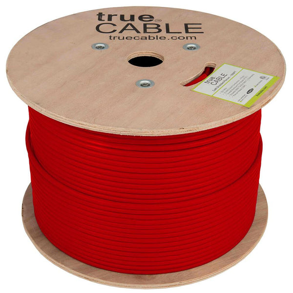 Cat6 Shielded Plenum Ethernet Cable Red 1000ft trueCABLE Reel No Wrap