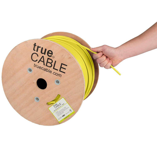 Cat6 Shielded Plenum Ethernet Cable Yellow 1000ft trueCABLE Hand Pulling