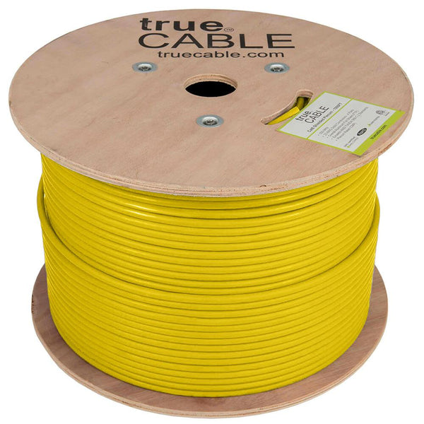 Cat6 Shielded Plenum Ethernet Cable Yellow 1000ft trueCABLE Reel No Wrap