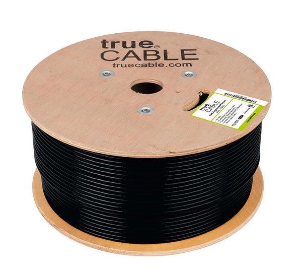 Cat6A Plenum Ethernet Cable Black 1000ft trueCABLE Reel No Wrap