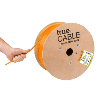 Cat6A Plenum Ethernet Cable Orange 1000ft trueCABLE Hand Pulling