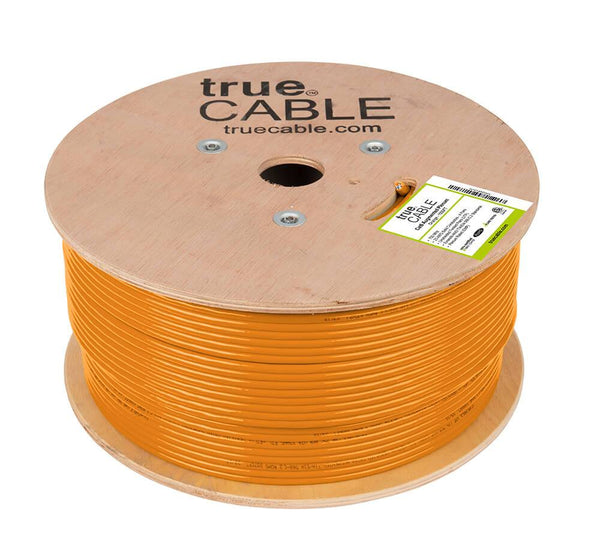 Cat6A Plenum Ethernet Cable Orange 1000ft trueCABLE Reel No Wrap