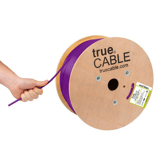 Cat6A Plenum Ethernet Cable Purple 1000ft trueCABLE Hand Pulling