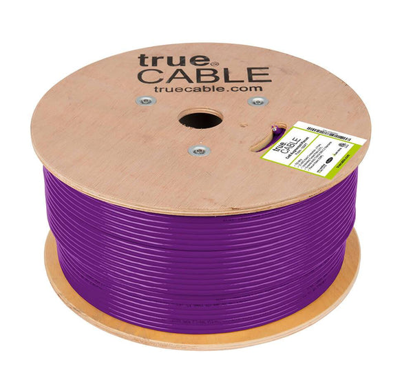 Cat6A Plenum Ethernet Cable Purple 1000ft trueCABLE Reel No Wrap