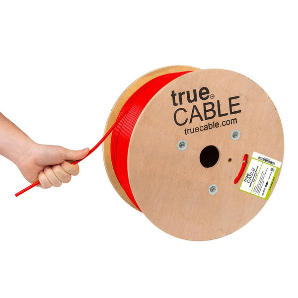 Cat6A Plenum Ethernet Cable Red 1000ft trueCABLE Hand Pulling