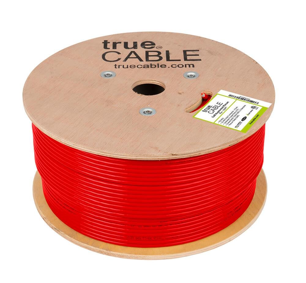 Cat6A Plenum Ethernet Cable Red 1000ft trueCABLE Reel No Wrap