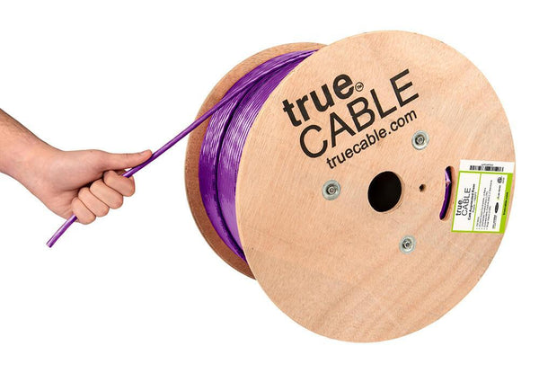 Cat6A Riser Ethernet Cable Purple 1000ft trueCABLE Hand Pulling