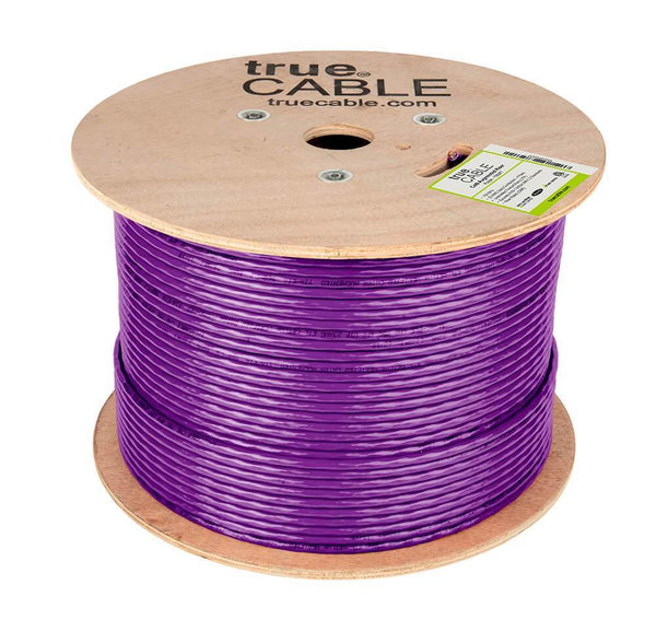Cat6A Riser Ethernet Cable Purple 1000ft trueCABLE Reel No Wrap