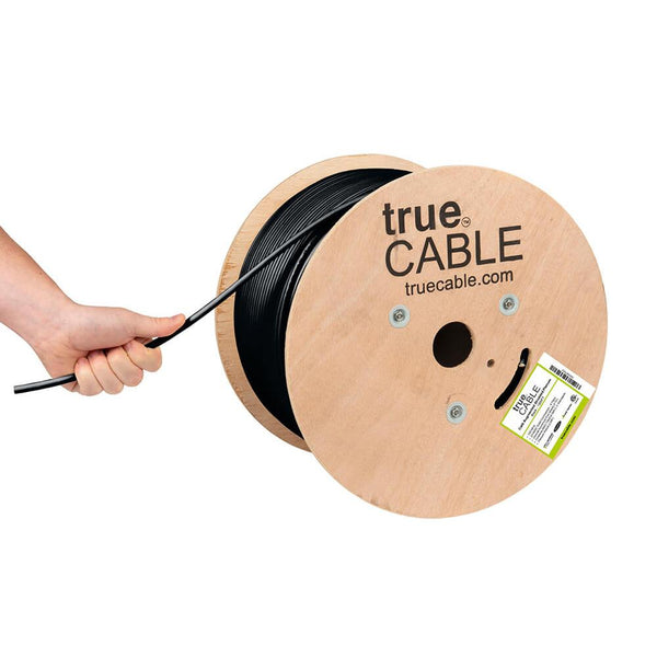 Cat6A Shielded Plenum Ethernet Cable Black 1000ft trueCABLE Hand Pulling