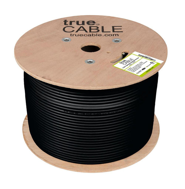 Cat6A Shielded Plenum Ethernet Cable Black 1000ft trueCABLE Reel No Wrap